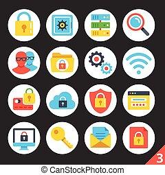 Security round flat icons set