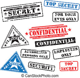 Security rubber stamps - Various security rubber stamps (top...