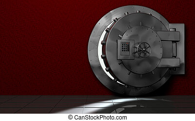 security safe - metal safe. red room. security
