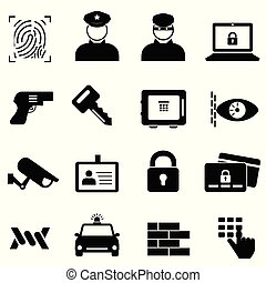 Security, safety and crime icons