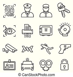Security, safety line icon set
