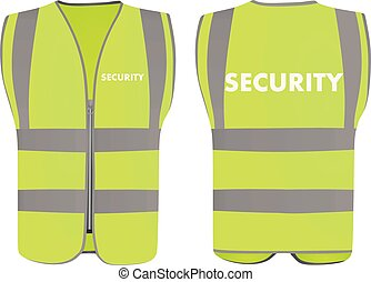 Security safety vest, front and back view