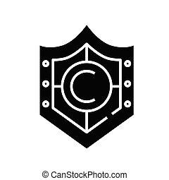 Security shield black icon, concept illustration, vector flat symbol, glyph sign.