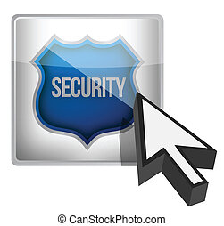 Security shield button illustration design