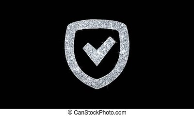 Security Shield Icon Shining Glitter Loop Blinking Particles .