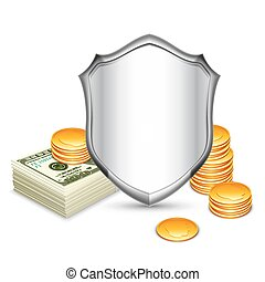 Security Shield Protecting Money