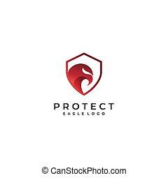 Security Shield Red Eagle Logo design