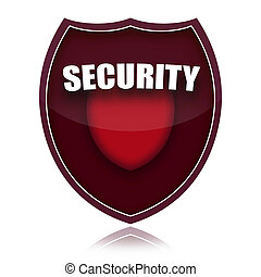 Security shield - Red security shield isolated over white...