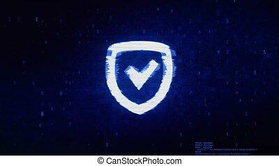 Security Shield Symbol Digital Pixel Noise Error Animation....