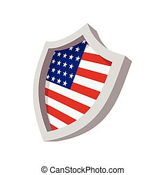Security shield with american flag color icon
