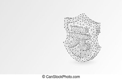 Security shield with China Yuan symbol abstract origami 3d illustration. Polygonal Vector business concept of safety, money protection. Low poly wireframe, triangles, lines, dots