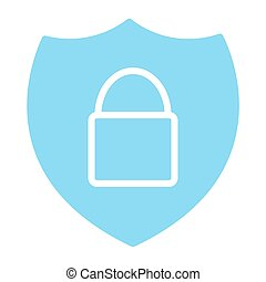 Security Shield With Lock Pixel Perfect Vector Silhouette Icon 48x48. Simple Minimal Pictogram