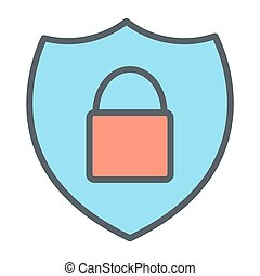 Security Shield With Lock Pixel Perfect Vector Thin Line Icon 48x48. Simple Minimal Pictogram