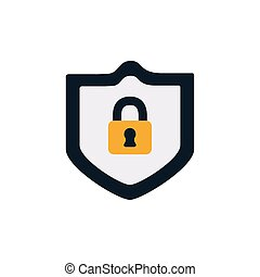 security shield with padlock flat style icon