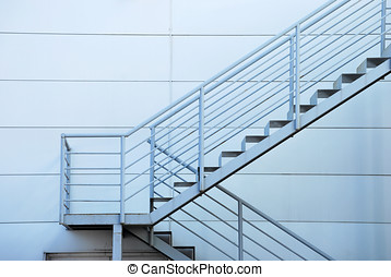 Security stairs in a building. Safety concept