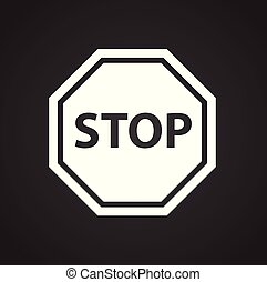 Security stop sign on white background