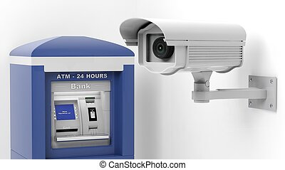 Security surveillance camera and ATM machine isolated on white background