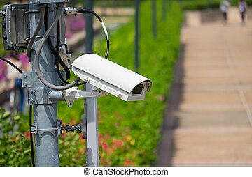 Security surveillance camera  in the park