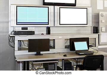 Security surveillance desk - Security surveillance center...