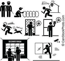 Security System - A set of pictograms representing the...