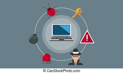 Security system and hacker icons HD animation - Computer...