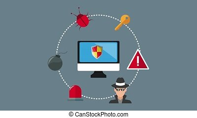 Security system and hacking HD animation - Hacking and...
