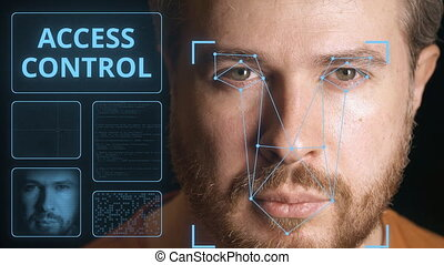 Security system scanning man's face. Electronic access...