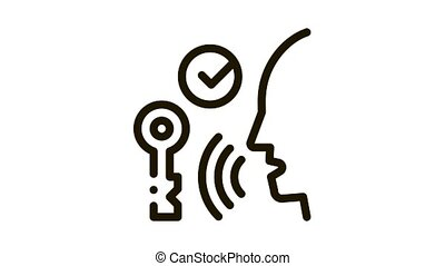 Security System Voice Control animated black icon on white background