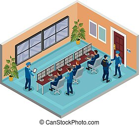 Security Systems Isometric Composition