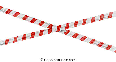 Security tape with red stripes on a white background. 3d render.