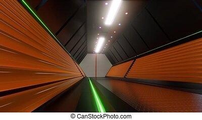 Security Tech corridor 3d futuristic Future tech. open door