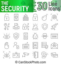 Security thin line icon set, protection symbols collection, vector sketches, logo illustrations, defense signs linear pictograms package isolated on white background.