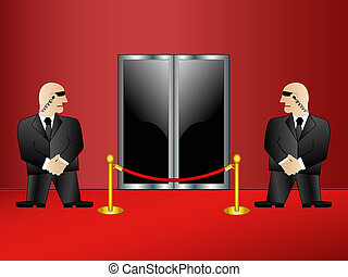 Two security guards on an entrance in a premise. Rasterized vector.