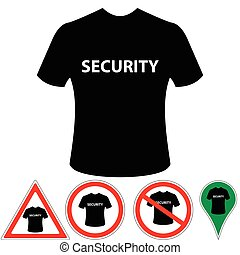 security - T-shirt security of protection, signs and pointer...