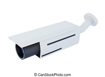Security video camera on white background. 3d rendering