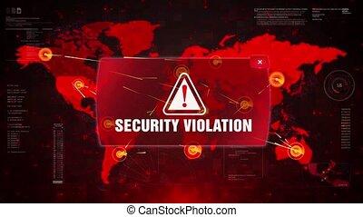 Security Violation Alert Warning Attack on Screen World Map...