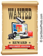 Security wanted concept - cctv camera and DVR as modern protection system - arrest warrant poster with security devices