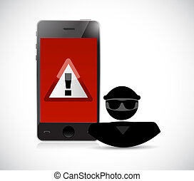 Security warning. Hacker and smart phones