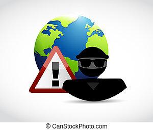 security warning. International hackers