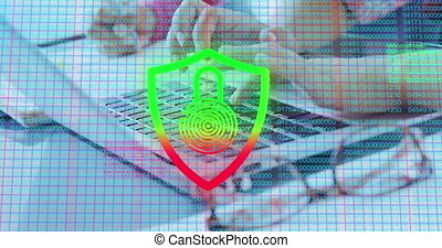 Animation of digital online security padlock icon over schoolchildren using laptop computer at school. Education business social media network interface concept digital composite.