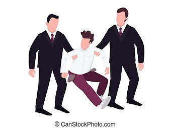 Security with troublemaker flat color vector faceless characters. Casino guardians in black suits walk off fraud. Loser with empty pockets resists agents. Felony isolated cartoon illustration