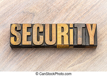 security word abstract in vintage wood type