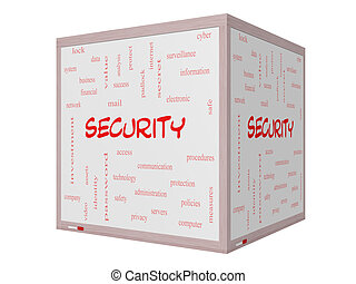 Security Word Cloud Concept on a 3D Whiteboard