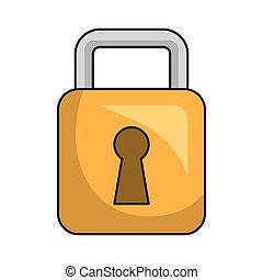 Security yellow padlock, isolated flat icon.