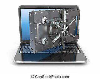 security.laptop, öffnung, sicher, door., deponieren,...