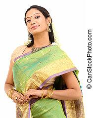 seda, sari, posar, mulher