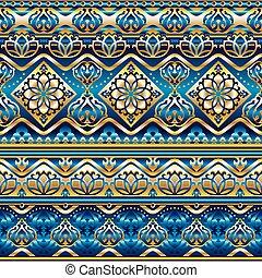 seda, seamless, azul, ornamento