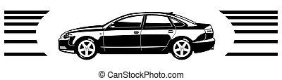sedan - black and white illustration of car