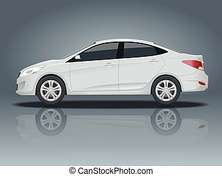 Sedan Car. Compact Hybrid Vehicle. Eco-friendly hi-tech auto. Isolated car, template for branding and advertising. Side view. Change the color in one click