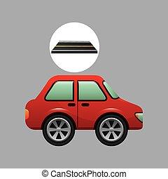 sedan, car, desenho, estrada, vermelho